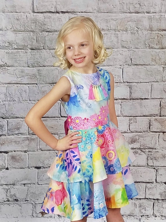 Girls Tiered Twirl Dress - Ombré Watercolor Dress - Girls Blue and Pink Dress