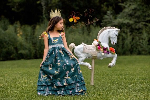 Girls Unicorn Maxi Dress – Unicorn Dress – Girls Boutique Maxi Dress – Fall Boutique Dress - Unicorn Birthday Dress