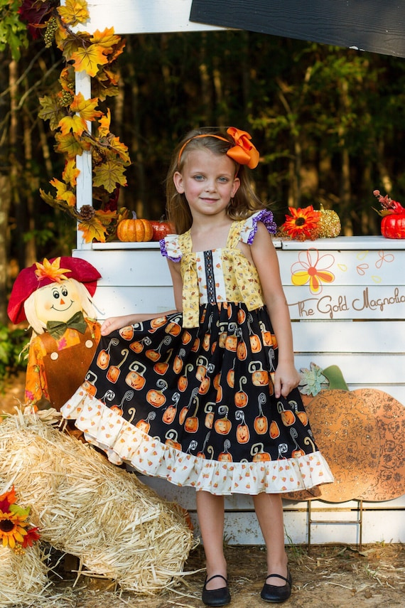 Girls Halloween Dress - Fall Pumpkin Dress - Candy Corn Dress - Halloween Pumpkin Dress - Fall Dress - Pumpkin Patch Dress