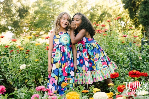 Girls Boho Floral Maxi - Tropical Floral Maxi - Bright Floral Dress