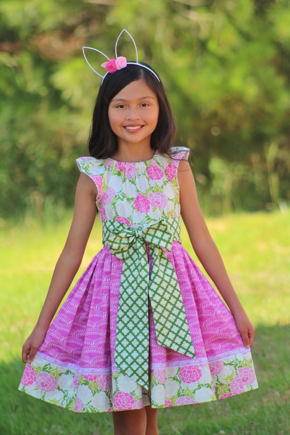 Girls Pink Floral Dress - Garden Dress - Garden Party Dress - Girls Boho Dress - Teen Size