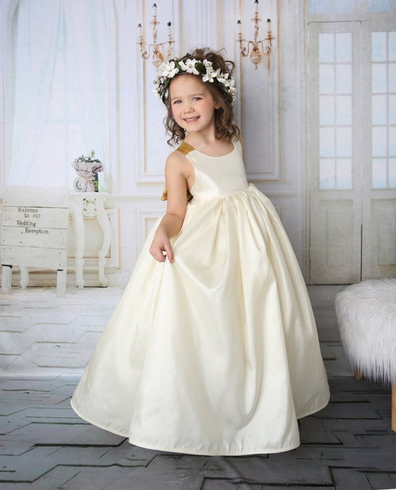 Girls Satin Flower Girl Gown - Flower Girl Dress - Wedding Junior Bridesmaid Dress - Girls Ivory Maxi