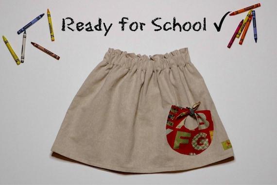 Girls Linen Skirt With Pocket - ABC Alphabet  - Back To School Skirt