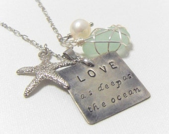 Love as deep as Ocean. starfish coral shell sea glass crystal freshwater sterling silver wedding perfect gift sister mom engagement