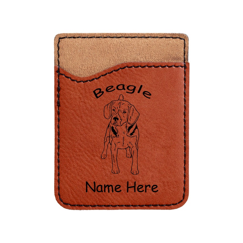 1519 Beagle Standing Forward Cell Phone Wallet Personalized image 0