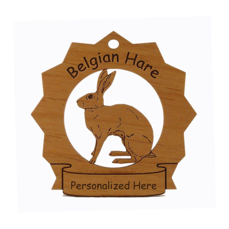 Belgian Hare Wood Ornament Personalized with Your Hare's image 0