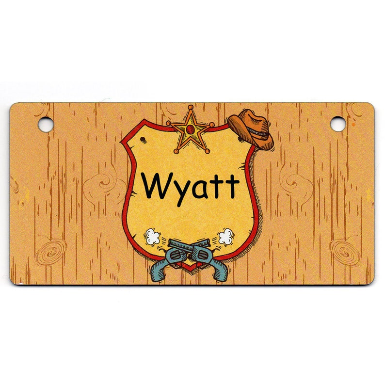 Western Sheriff's Badge Design Crate Tag Personalized with image 0