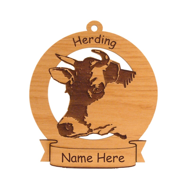 Herding Cow Ornament Personalized with Your Dog's Name image 0