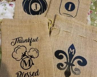 Farmhouse, Decor, Burlap, Bag, Sack, Burlap Light, Mason Jar, Wrap, Cover, Personalize, Monogram, Initial, Cotton, Cotton stem