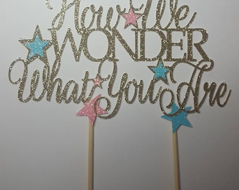Glitter Cake Topper, Baby Shower, Gender Reveal, Cake, How We Wonder What You Are, Sprinkle, Baby Girl, Baby Boy, Centerpiece, Sign, FREE sh