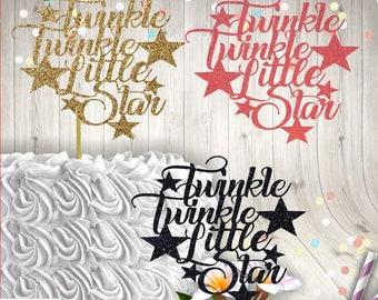 Glitter Cake Topper, Baby Shower, Gender Reveal, Twinkle Twinkle Little Star, Sprinkle, Baby Girl, Baby Boy, Centerpiece, Sign, FREE sh