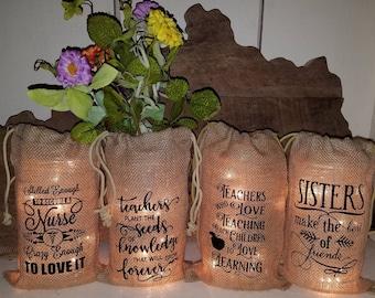 Farmhouse,Decor, Lighting, Rustic, Vintage, Primitive, Mason Jar, Burlap, Bag, Sack, with lights, Cover