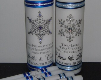 Unity Candle, Wedding Candle, Unity Candle Set, Unity Candle Set with Snowflakes - Choose your snowflake and colors