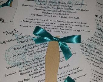 Wedding Fan, Summer Wedding, Beach Wedding, Seashells, Shells, Favor, Die Cut, Program, Order of Ceremony, Wavy Fan Handle