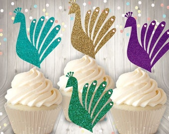 Peacock, Cupcake, Cake, Topper, Glitter, Feather, Party, Wedding, Birthday