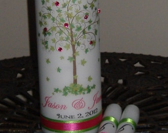 Unity Candle Set with Crystal, Tree of Life, Tree Unity Candle, Tree Wedding Candle, FREE SHIPPING in USA