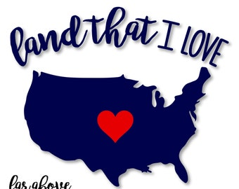 God Bless America Land That I Love USA Heart - SVG, DXF, png, jpg digital cut file for Silhouette or Cricut