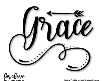 Grace Word Art with Arrow - SVG, DXF, png, jpg digital cut file for Silhouette or Cricut