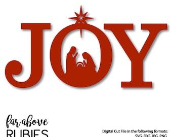 JOY Nativity Christmas SVG, DXF, png, jpg digital cut file for Silhouette or Cricut