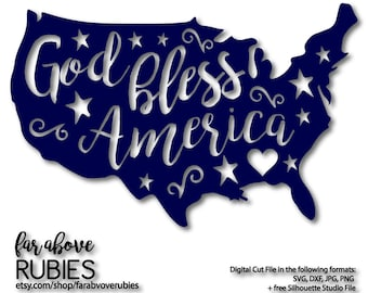 God Bless America with Stars Country Shape - SVG, EPS, dxf, png, jpg digital cut file for Silhouette or Cricut 4th of July Independence Day