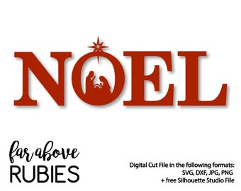 NOEL Nativity Christmas - SVG, DXF, png, jpg digital cut file for Silhouette or Cricut