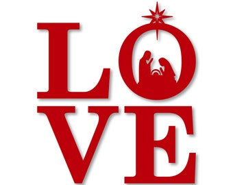 Christmas LOVE Nativity Word Art - SVG, DXF, png, jpg digital cut file for Silhouette or Cricut