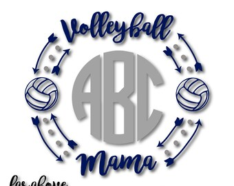 Volleyball Mama Monogram Wreath with Balls (monogram NOT included) - SVG, DXF, png, jpg digital cut file for Silhouette or Cricut