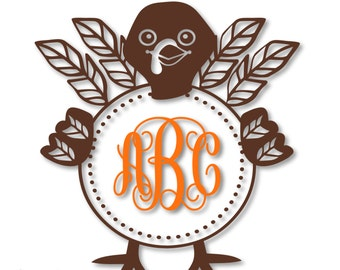 8d95d6a2 Turkey Feather Monogram Wreath Frame (monogram NOT included) - SVG, DXF,  png, jpg digital cut file for Silhouette or Cricut