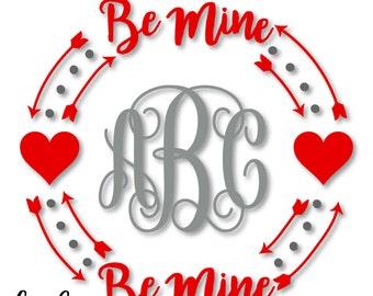 Happy Valentine S Day Love Heart Monogram Wreath Monogram Etsy