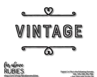 Vintage Word with Flourish - SVG, EPS, dxf, png, jpg digital cut file for Silhouette or Cricut