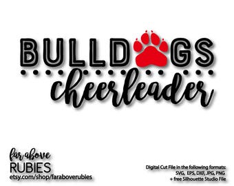 Bulldogs Cheerleader Paw Print dots SVG, EPS, dxf, png, jpg digital cut file for Silhouette or Cricut Cheer