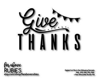 Give Thanks Banner Thankful Word Art Thanksgiving Fall SVG, EPS, dxf, png, jpg digital cut file for Silhouette or Cricut
