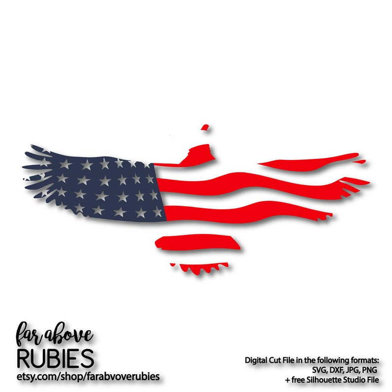 Wavy American Usa Flag Eagle Svg Eps Dxf Png Jpg Digital Etsy