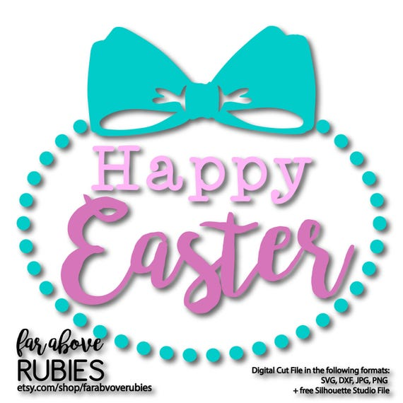 Happy Easter With Bow And Pearls Svg Eps Dxf Png Jpg Etsy