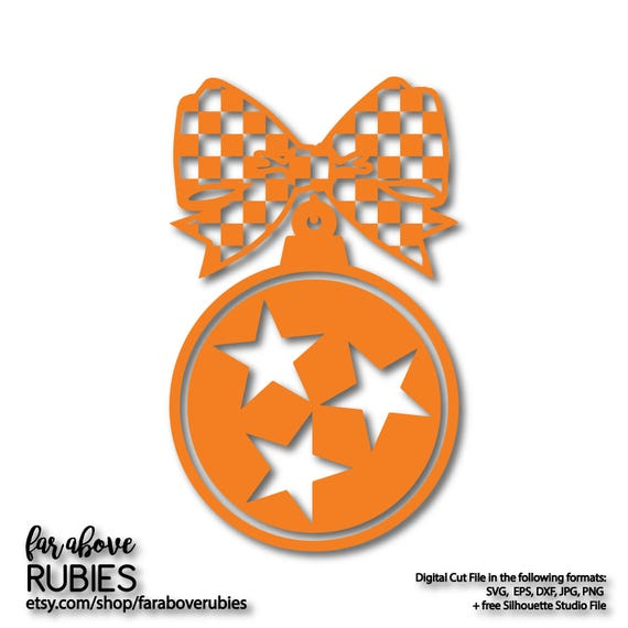 Tennessee Tristar Holiday Christmas Ornament Checkerboard Bow Etsy