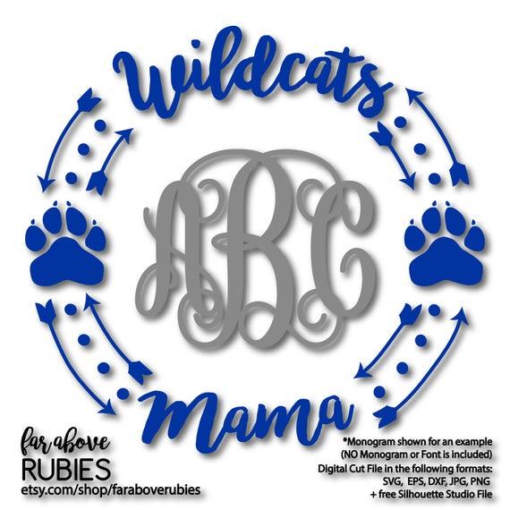 Wildcats Mama Paw Print Monogram Frame Wreath Monogram Not