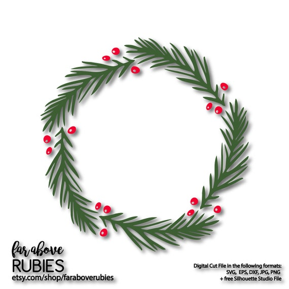 Christmas Wreath Silhouette Free.Christmas Wreath Pine Holly Svg Eps Dxf Png Jpg Digital Cut File For Silhouette Or Cricut Simple Holiday Wreath Berries