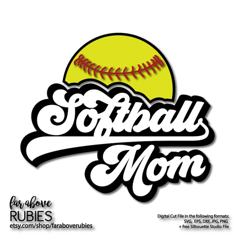 18+ Softball Mom – Svg, Dxf, Eps Cut Files Design