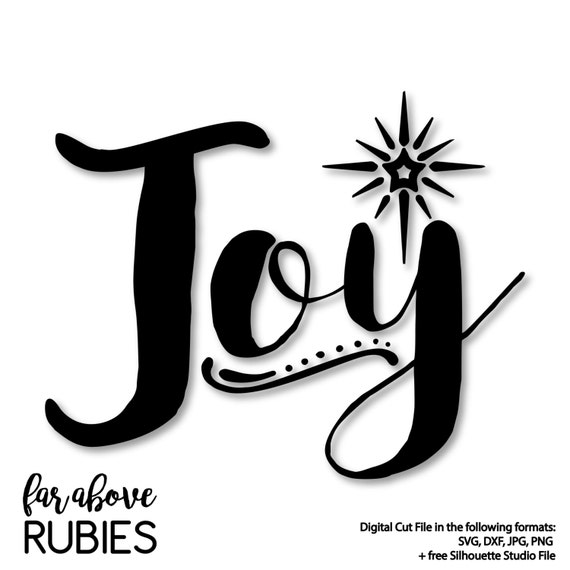 Christmas Star Silhouette.Joy Word Art With Christmas Star Svg Eps Dxf Png Jpg Digital Cut File For Silhouette Or Cricut Holiday