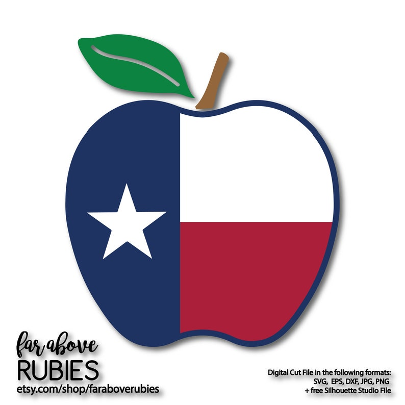 Texas Flag Apple Svg Tx Teacher Apple Svg Eps Dxf Png Jpg Etsy