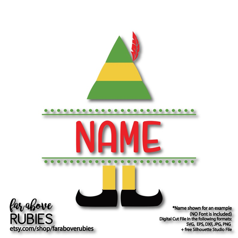 Elf Hat Shoes Name Blank (NO font or personalization included) SVG, EPS,  dxf, jpg, png digital cut file for Silhouette or Cricut
