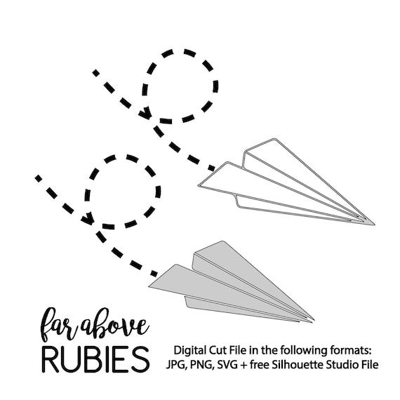 Paper Airplane Svg Digital Cut Files Two Versions Outline Or Etsy