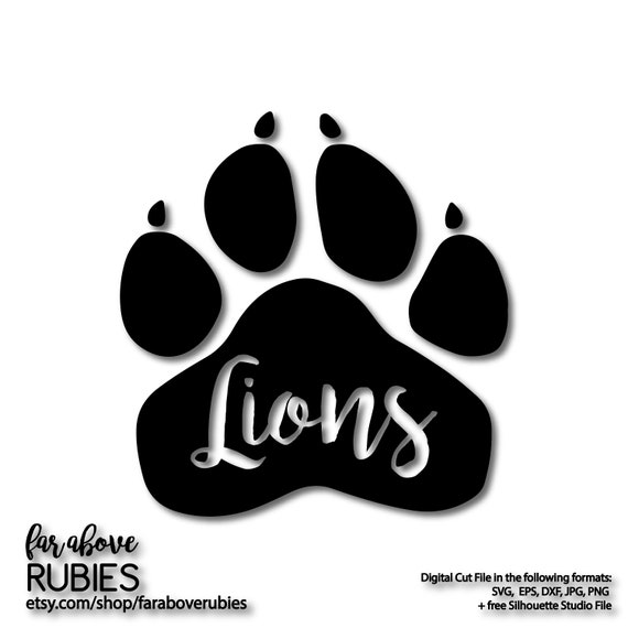 Lion Paw Print School Team Pride Mascot Svg Eps Dxf Png Etsy