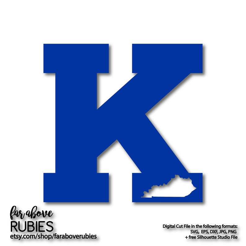 Kentucky Letter K With State Shape Svg Eps Dxf Png Jpg Etsy