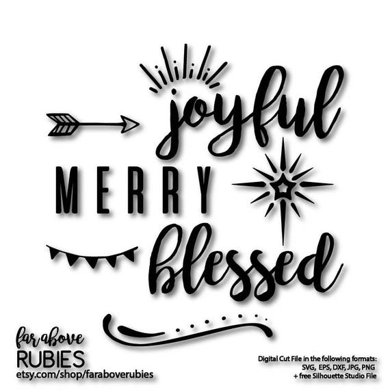 Joyful Merry Blessed Word Art With Arrow Christmas Star And Etsy