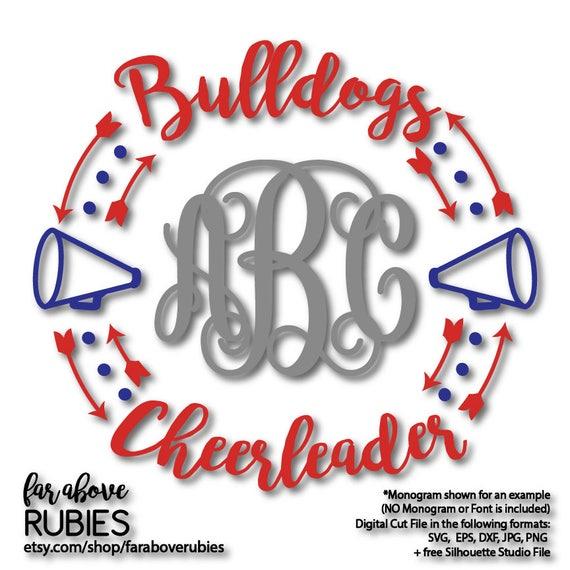 Bulldogs Cheerleader Megaphone Monogram Wreath Monogram Not Etsy