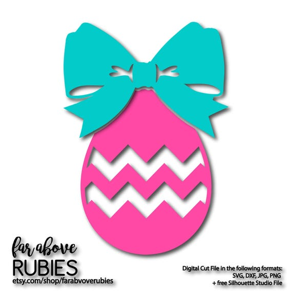 Chevron Easter Egg With Bow Tie Ribbon Svg Eps Dxf Png Etsy