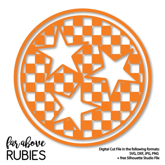 Tennessee Checkerboard Pattern Tri Star Svg Dxf Png Jpg Etsy