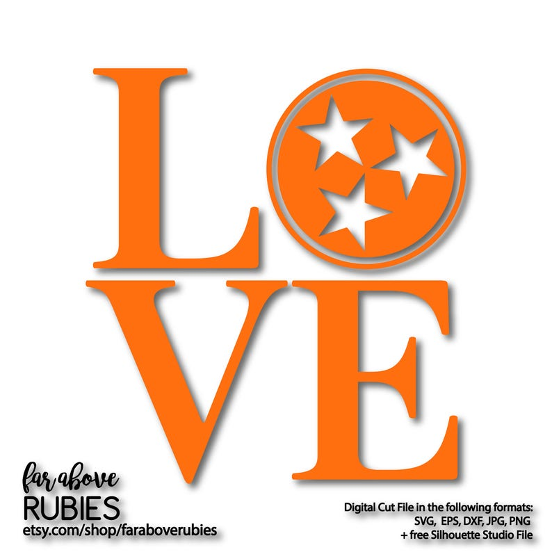 Love With Tennessee Classic Tri Star Svg Eps Dxf Png Jpg Etsy