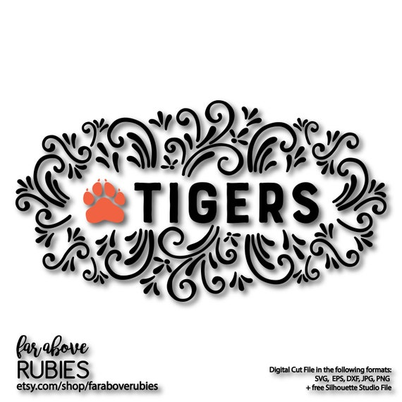 Tigers Paw Print Scroll Work Design Svg Eps Dxf Png Jpg Etsy